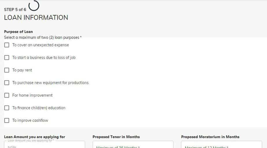 covid-19 loan application form step five