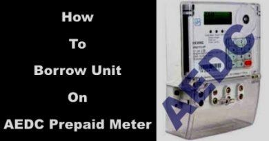 borrow unit on AEDC Prepaid Meter
