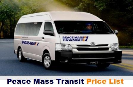 Peace Mass Transit Price List