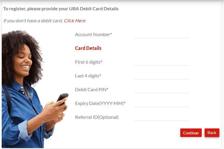 UBA internet banking registration form
