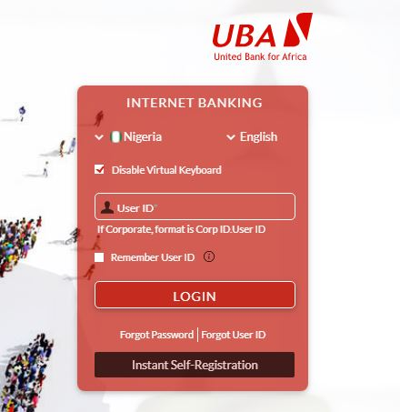 UBA internet banking registration and login page